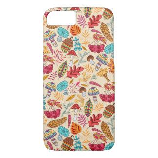 Coque iPhone 7 Motif d'automne avec le feuille, champignons,
