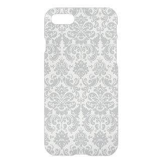 Coque iPhone 7 Motif élégant gris et blanc de damassé