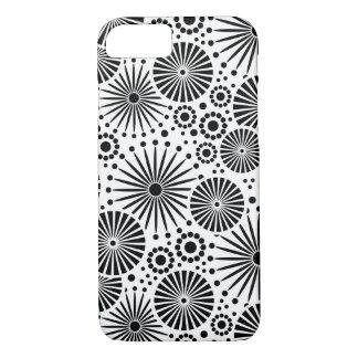 Coque iPhone 7 motif floral de vecteur noir et blanc de fleurs