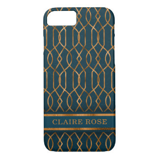 Coque iPhone 7 Motif turquoise géométrique chic de trellis d'or