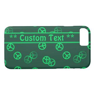 Coque iPhone 7 Motif vert de signe de paix avec le texte fait sur