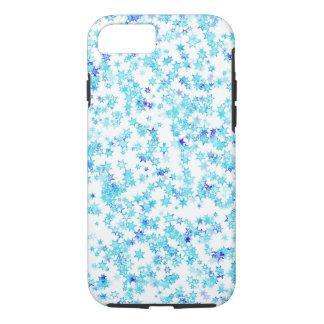 Coque iPhone 7 Neige moderne de flocons de neige d'étoile de bleu