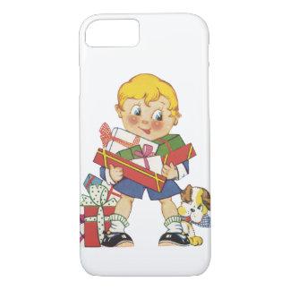 Coque iPhone 7 Noël vintage, garçon avec des présents et chiot