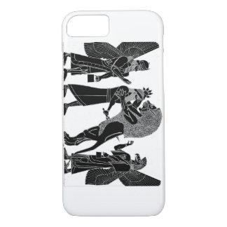 Coque iPhone 7 Noir de chasse à lion sur l'iPhone blanc