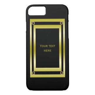 Coque iPhone 7 Noir élégant et or encadrés