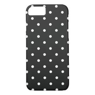 Coque iPhone 7 Noir et blanc de point de polka