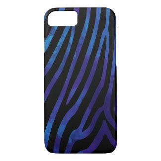 Coque iPhone 7 noir et bleu de peau de zèbre