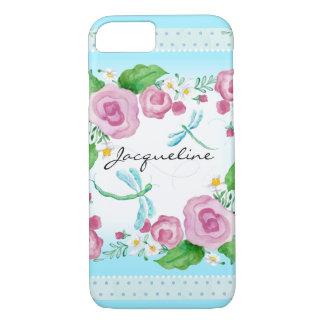 Coque iPhone 7 Nom Girly de fleur de libellule rose moderne