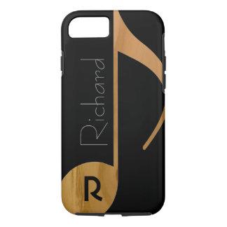 Coque iPhone 7 note de musique de bois-couleur avec le nom
