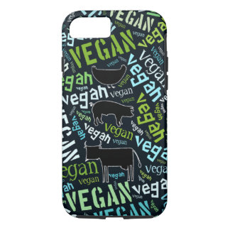 Coque iPhone 7 Nuage végétalien de mot avec une vache, le porc et