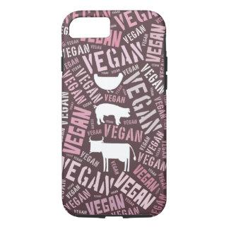 Coque iPhone 7 Nuage végétalien de mot avec une vache, un porc et