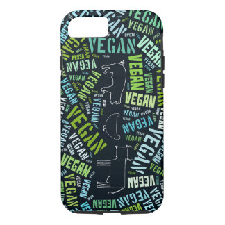 Coque iPhone 7 Nuage végétalien de mot entourant une vache, le