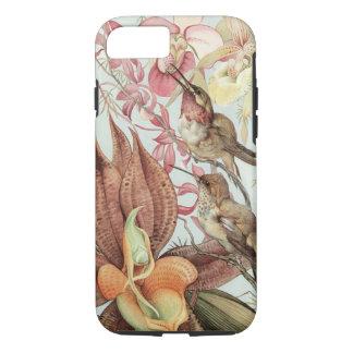 Coque iPhone 7 Orchidées tropicales vintages, fleurs et colibris