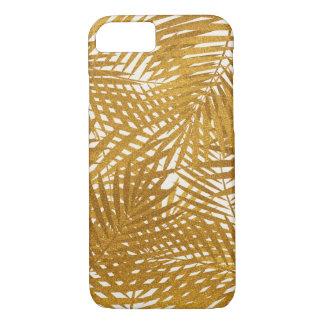 Coque iPhone 7 Palmettes de feuille d'or
