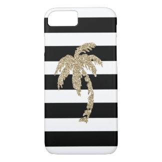 Coque iPhone 7 Palmier tropical de scintillement d'or sur noir et