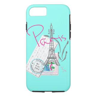 """Coque iPhone 7 """"Paris avec amour"""" Eiffel+tour et lettre"""