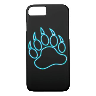 Coque iPhone 7 Patte d'ours bleue au néon