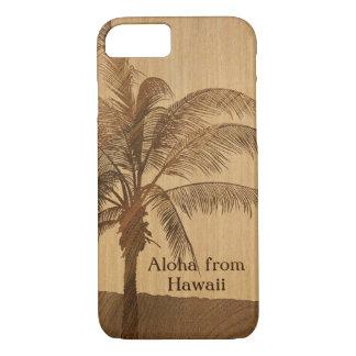 Coque iPhone 7 Paume simple en bois de Koa de Faux hawaïen de