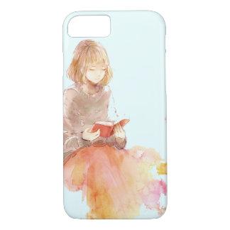 Coque iPhone 7 Peinture d'aquarelle de fille lisant un livre