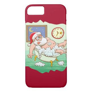 Coque iPhone 7 Père Noël épuisé prenant un bain après la