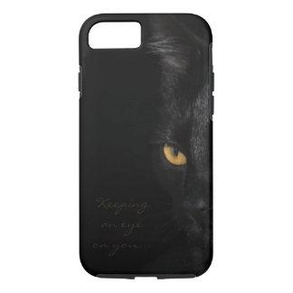 Coque iPhone 7 Photographie de yeux de portrait de chat noir