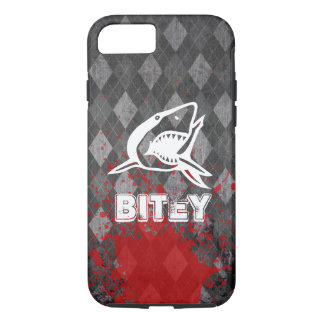 Coque iPhone 7 Pictogramme de requin sur le Jacquard noir sale