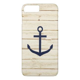 Coque iPhone 7 Plus Ancre bleue en bois de Faux blanc