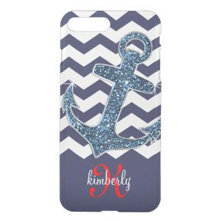 Coque iPhone 7 Plus Ancre Girly Chevron de parties scintillantes de