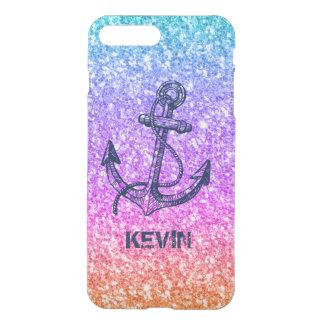 Coque iPhone 7 Plus Ancre nautique de texture colorée de scintillement