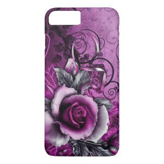 Coque iPhone 7 Plus art grunge vintage de remous de vecteur de rose de