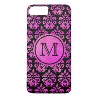 Coque iPhone 7 Plus Beau décoré d'un monogramme de damassé rose