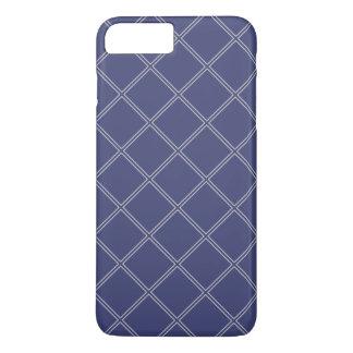 Coque iPhone 7 Plus Bleu marine et contours géométriques argentés de