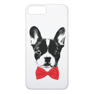 Coque iPhone 7 Plus Bouledogue français mignon avec la cravate d'arc