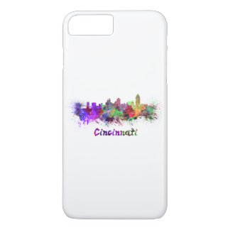 Coque iPhone 7 Plus Cincinnati skyline in watercolor