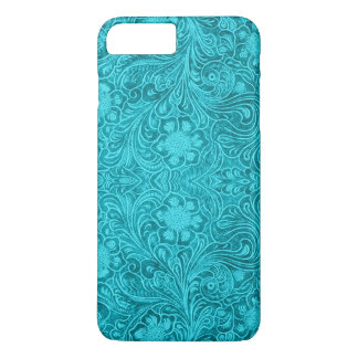 Coque iPhone 7 Plus Conception florale simili cuir de suède de
