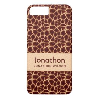 Coque iPhone 7 Plus Copie classique de girafe en Brown et coutume