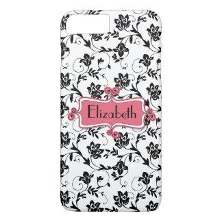 Coque iPhone 7 Plus Damassé noire rose personnalisée