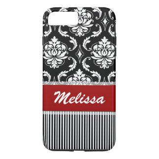 Coque iPhone 7 Plus Damassé rouge, blanche, noire personnalisée barrée