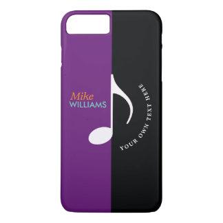 Coque iPhone 7 Plus ~ de note de musique cool noir et de pourpre