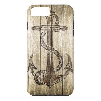 Coque iPhone 7 Plus Découpage en bois (ancre)