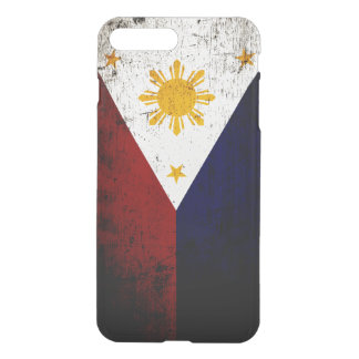 Coque iPhone 7 Plus Drapeau grunge noir de Philippines