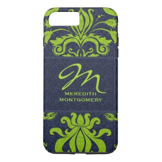 Coque iPhone 7 Plus Jade avec le monogramme de damassé de bleu marine