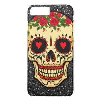 Coque iPhone 7 Plus Jour des coeurs et des fleurs morts de crâne de