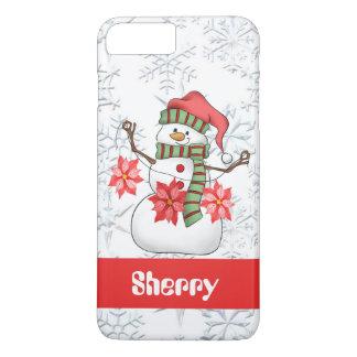 Coque iPhone 7 Plus Le bonhomme de neige d'aquarelle ajoutent le cas