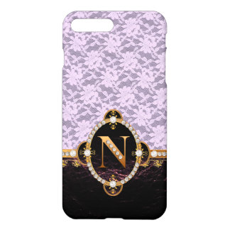 Coque iPhone 7 Plus Le lilas lace le monogramme