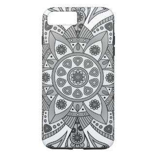 Coque iPhone 7 Plus Mandala Tiga Abu Abu
