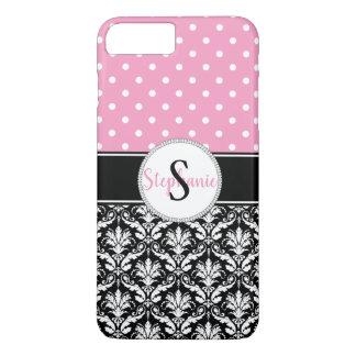 Coque iPhone 7 Plus Monogramme blanc rose de damassé de pois