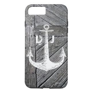 Coque iPhone 7 Plus Monogramme nautique d'ancre vintage en bois