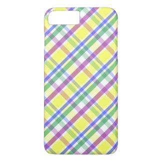 Coque iPhone 7 Plus Motif en pastel de plaid de Pâques