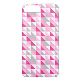 Coque iPhone 7 Plus Motif gris blanc rose géométrique de triangles